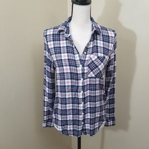 Aeropostale Pink and Blue Plaid Flannel Shirt Med